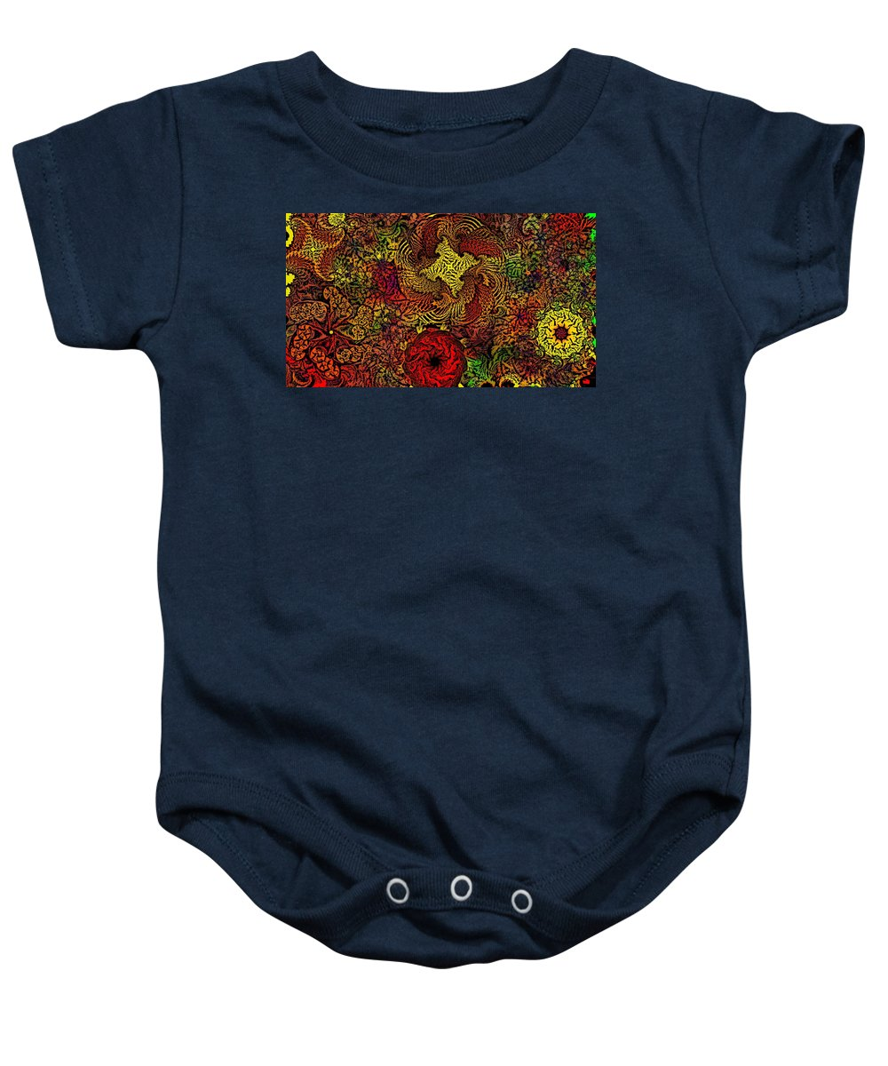 Abstract Digital Painting Baby Onesie featuring the digital art Fantasy Flowers Woodcut by David Lane
