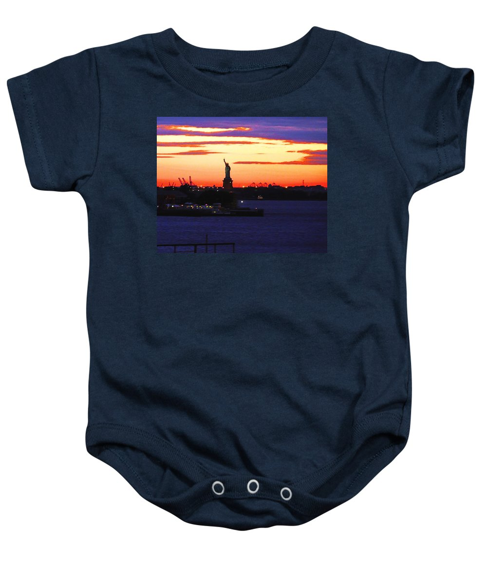 Statute Of Liberty Baby Onesie featuring the photograph Farewell by Kendall Eutemey