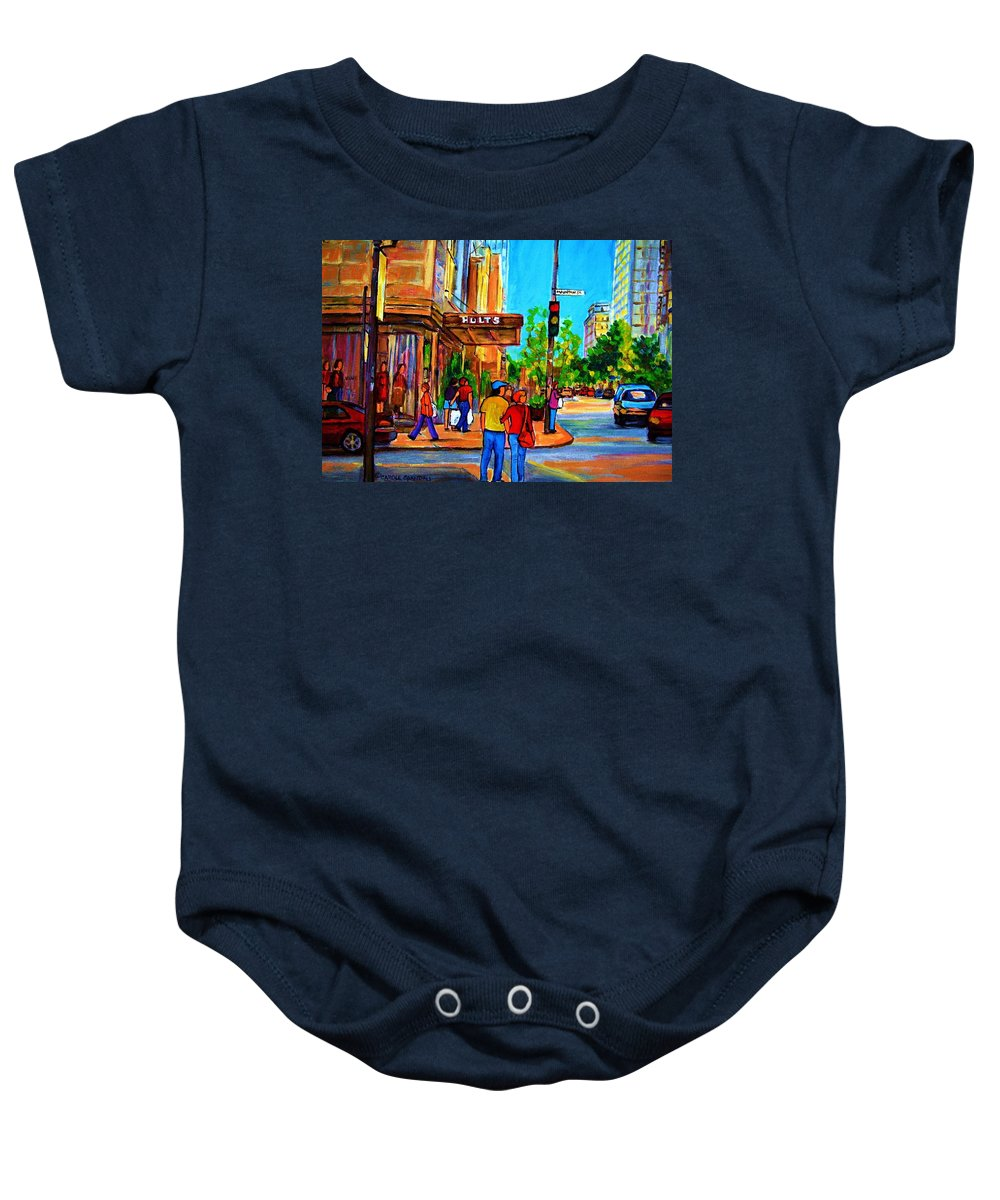 Holt Renfrew Baby Onesie featuring the painting Fashionable Holt Renfrew by Carole Spandau