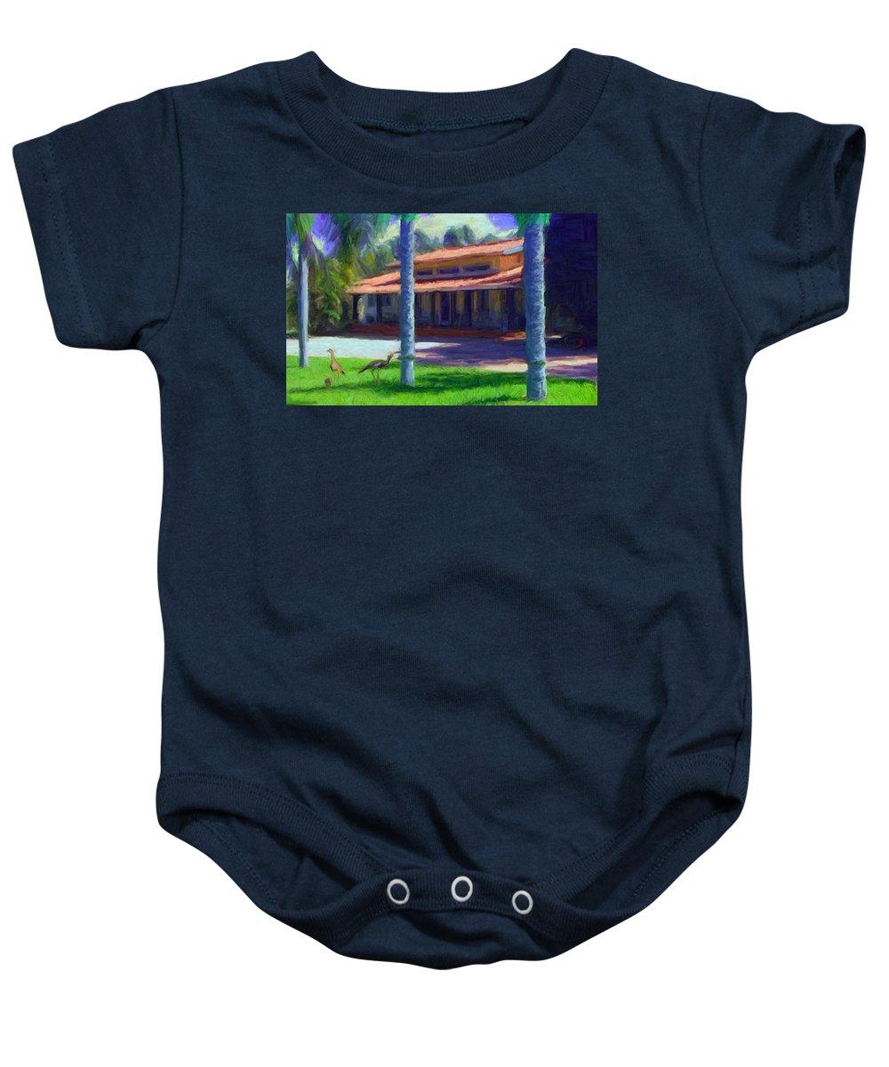 Farm Baby Onesie featuring the digital art Farm Main House 1 by Caito Junqueira