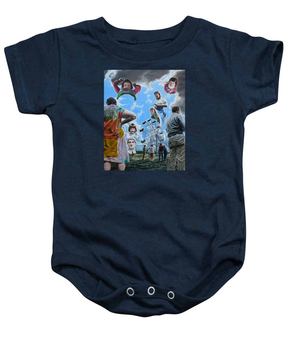 Woman Baby Onesie featuring the painting Ferris Wheel by Dave Martsolf