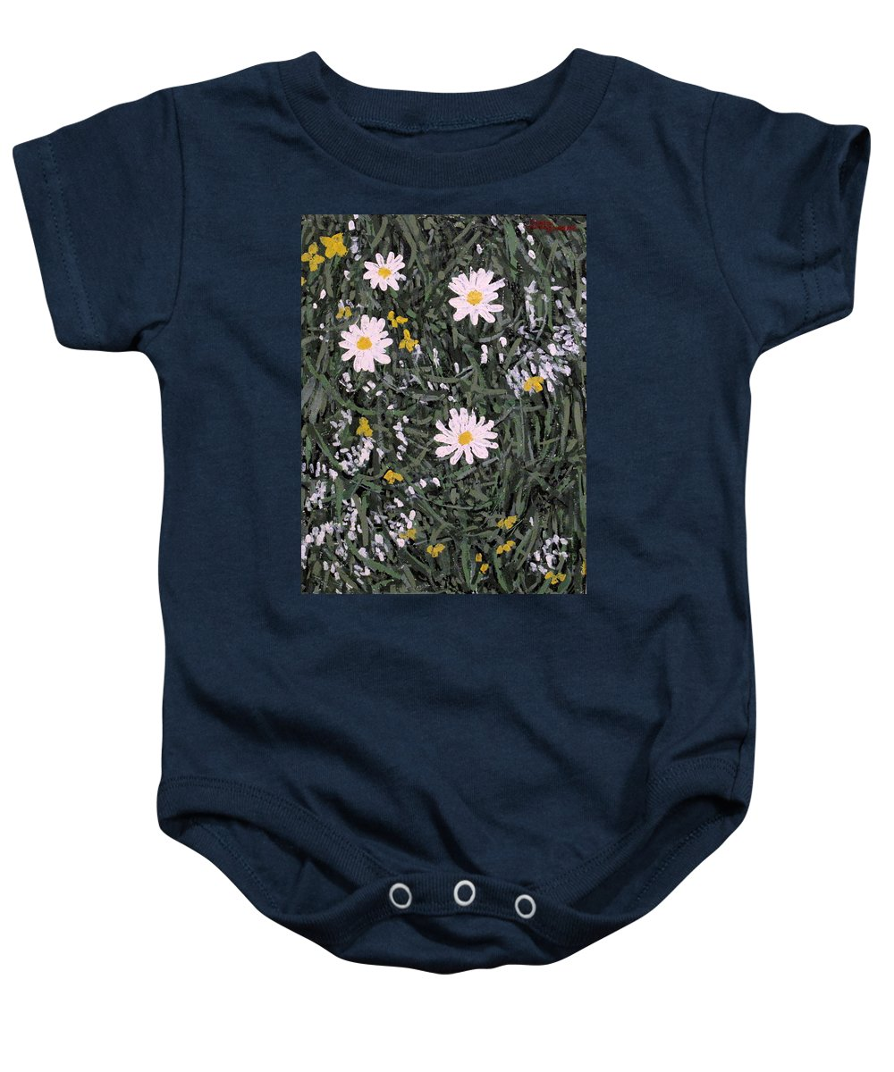 Daisies Baby Onesie featuring the painting Field Daisies by Ian MacDonald