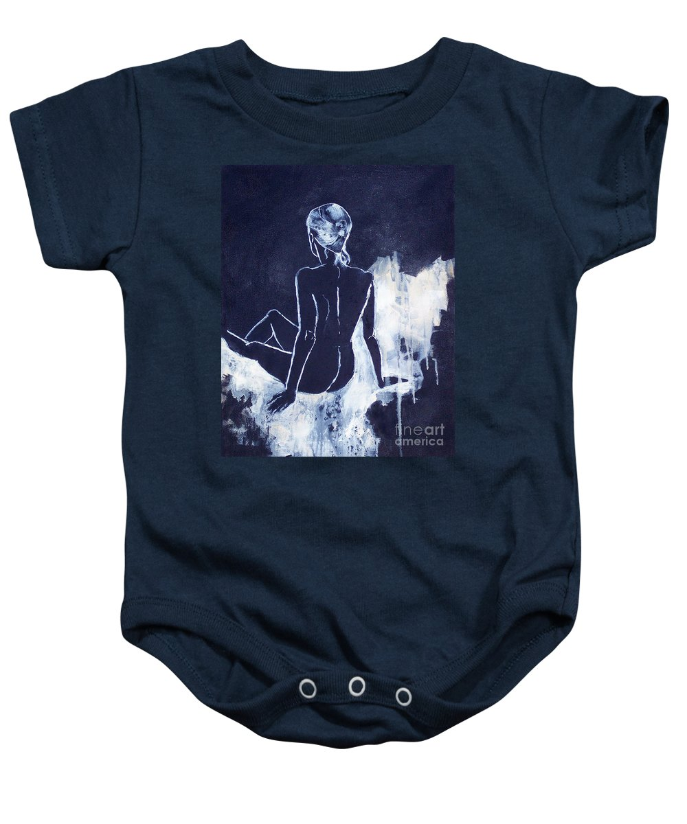 Black & White Female Figure Study Baby Onesie featuring the painting Figure Study 045 by Donna Frost