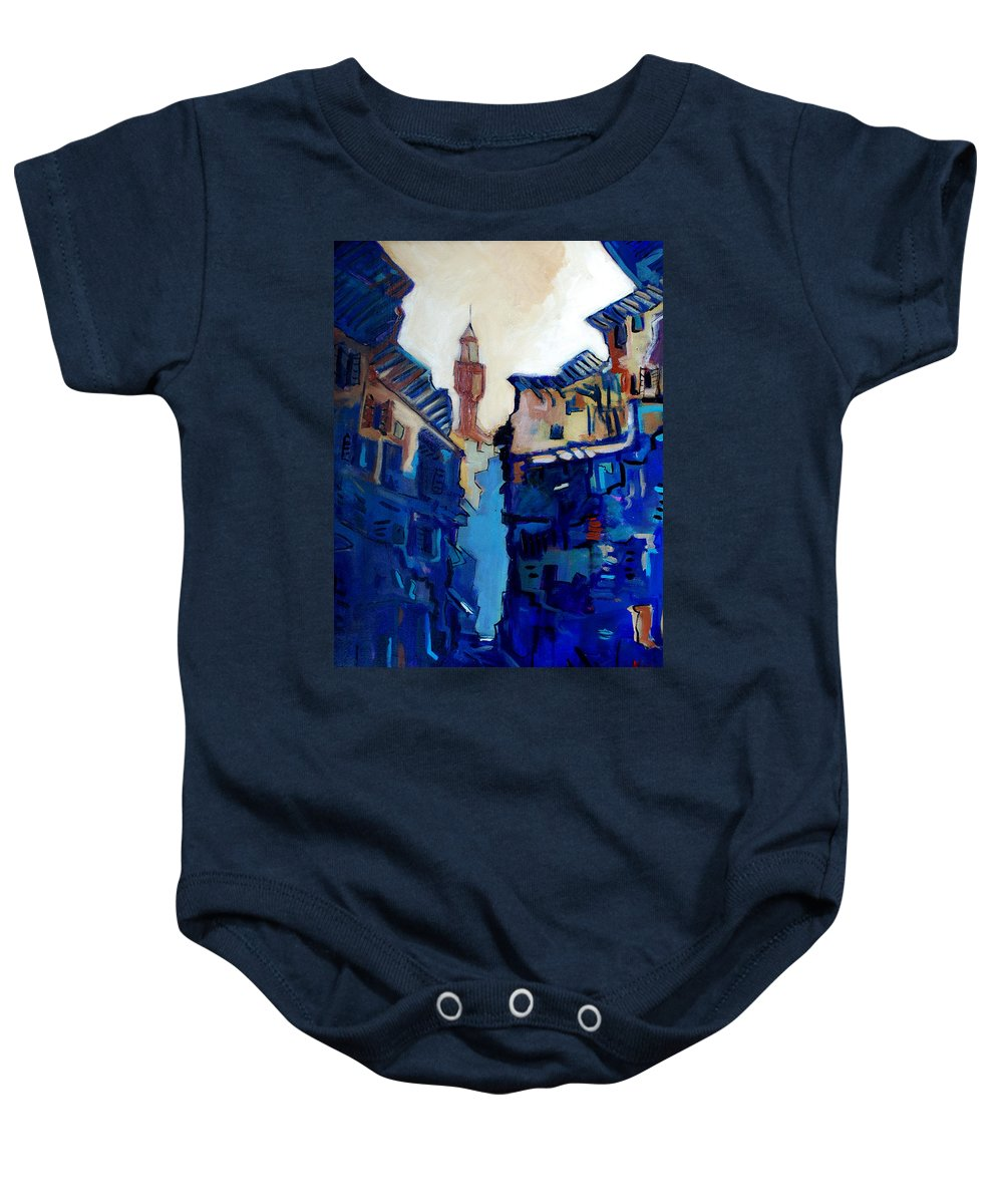 Florence Baby Onesie featuring the painting Firenze Street Study by Kurt Hausmann