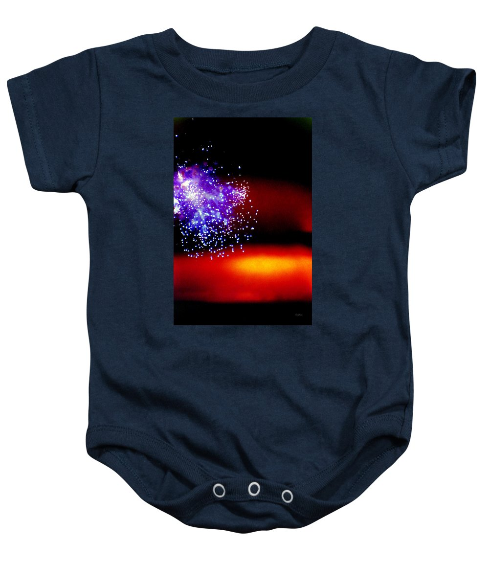 Fireworks Baby Onesie featuring the photograph Firework Fallout by Deborah Crew-Johnson