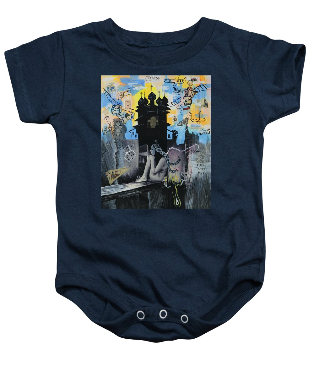 Surreal Baby Onesie featuring the painting First Butterfly by Yelena Tylkina