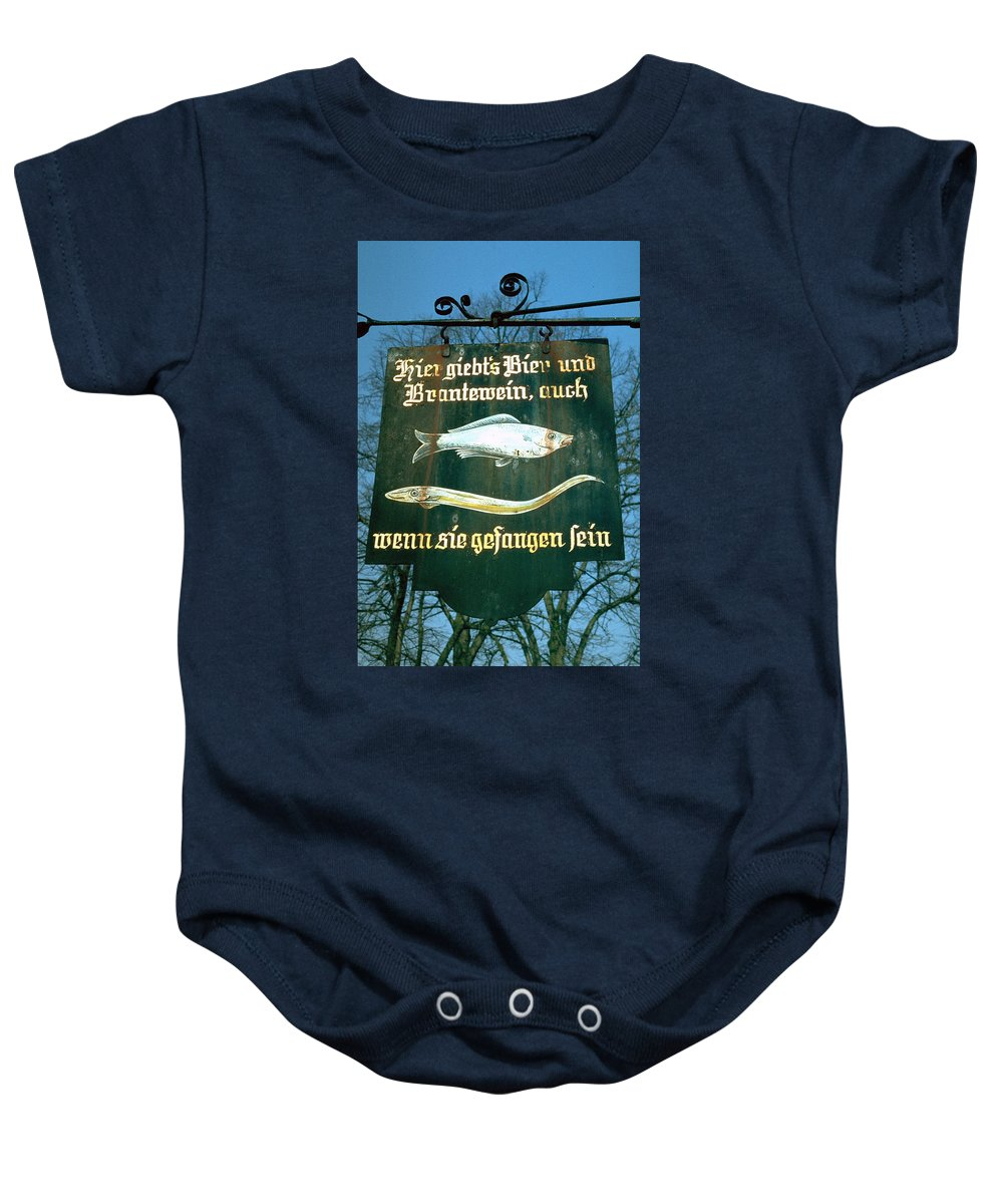 Store Sign Baby Onesie featuring the photograph Fish by Flavia Westerwelle