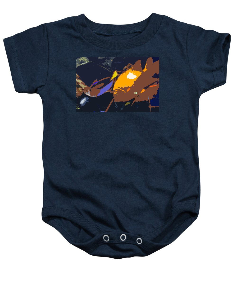 Tropical Baby Onesie featuring the painting Fish Of The Tropics by David Lee Thompson