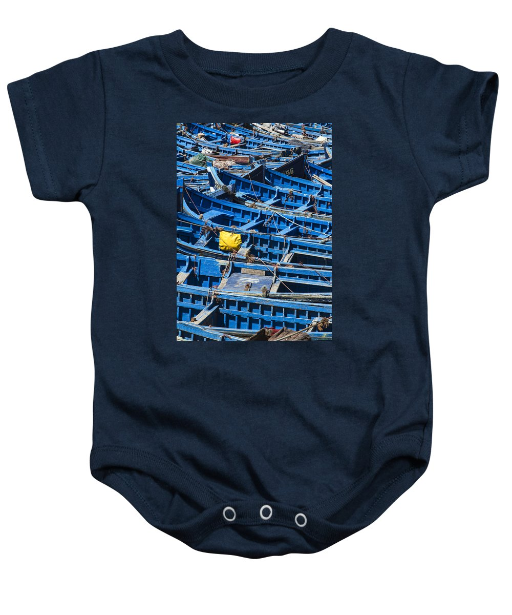 Essaouira Baby Onesie featuring the photograph Fishing Boats In Morocco by Lindley Johnson