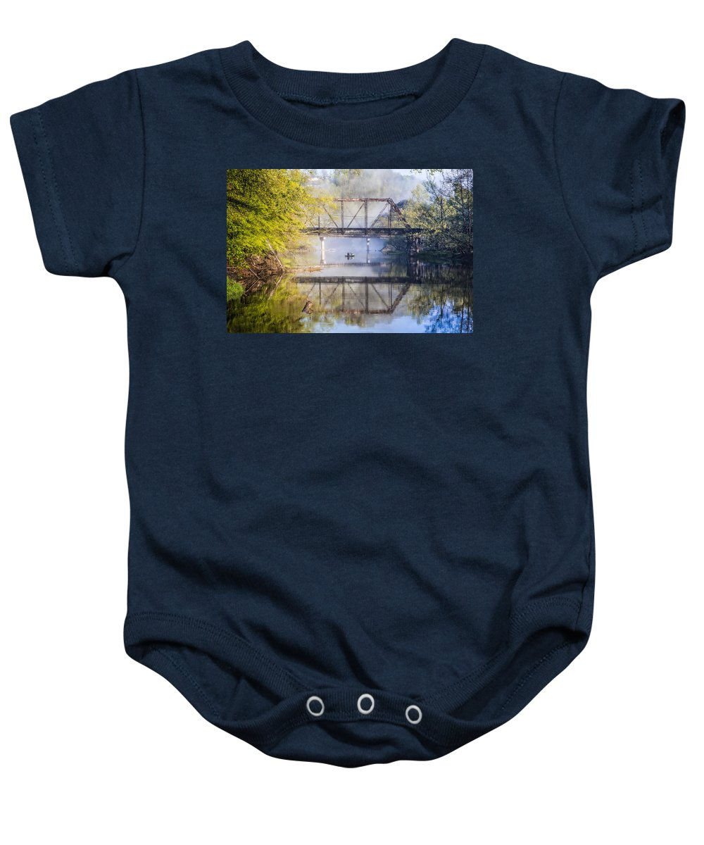 Appalachia Baby Onesie featuring the photograph Fishing Under The Trestle by Debra and Dave Vanderlaan