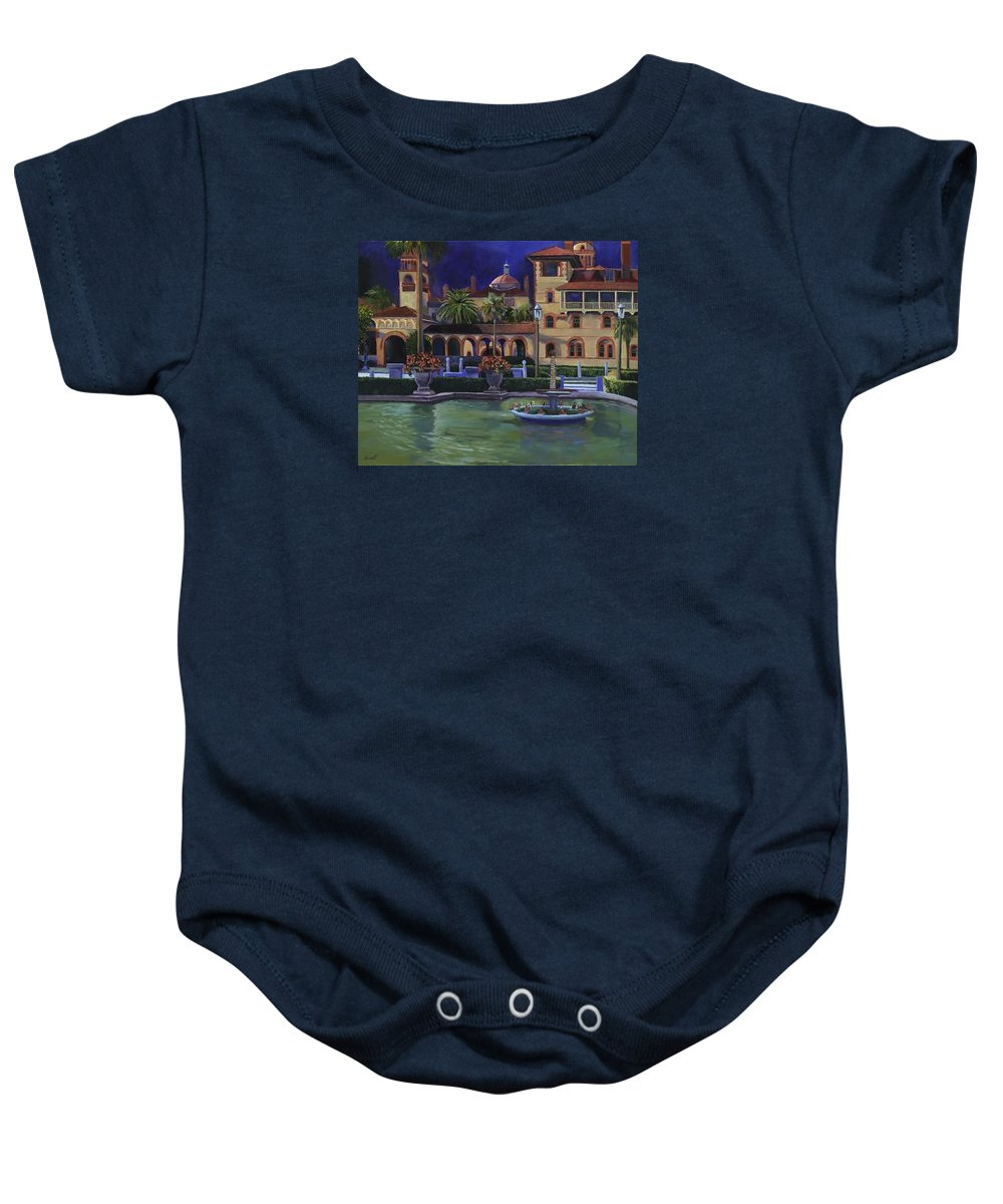 St. Augustine\'s Flagler College Campus Baby Onesie featuring the painting Flagler College II by Christine Cousart