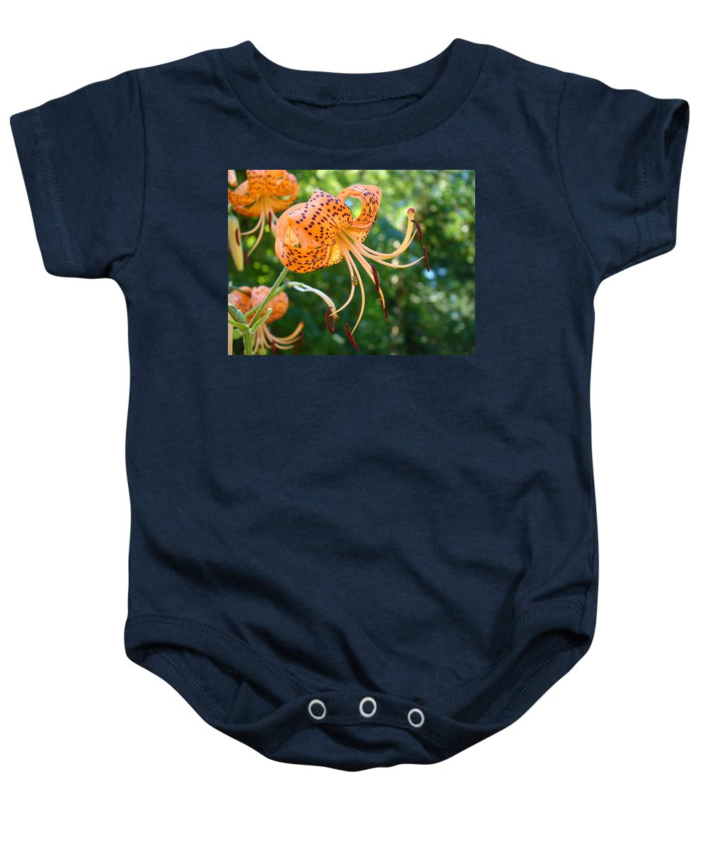 Lilies Baby Onesie featuring the photograph Floral Tiger Lily Flower Art Print Orange Lilies Baslee Troutman by Baslee Troutman