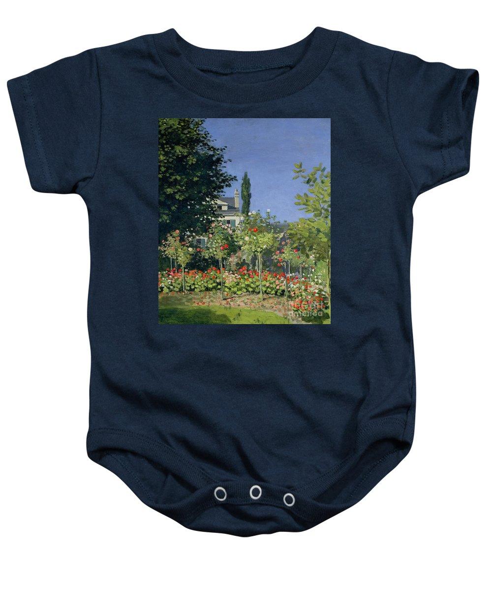 Flowering Garden At Sainte-adresse Baby Onesie featuring the painting Flowering Garden At Sainte-adresse by Claude Monet