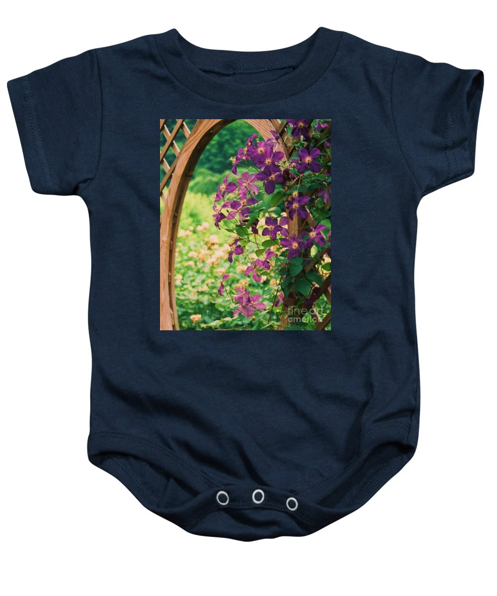 Floral Baby Onesie featuring the painting Flowers On Vine by Eric Schiabor