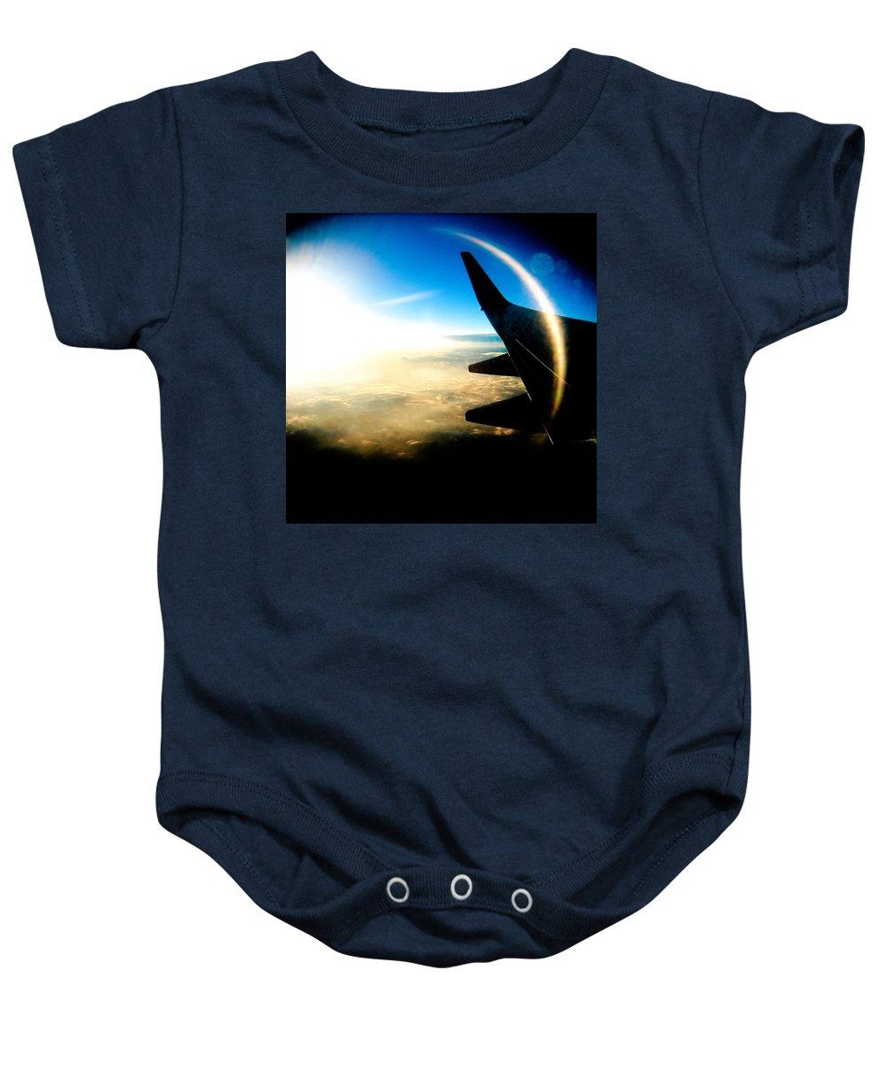Plane Sky Sun Holga Color Photograph Baby Onesie featuring the photograph Fly like a Dolphin by Olivier De Rycke