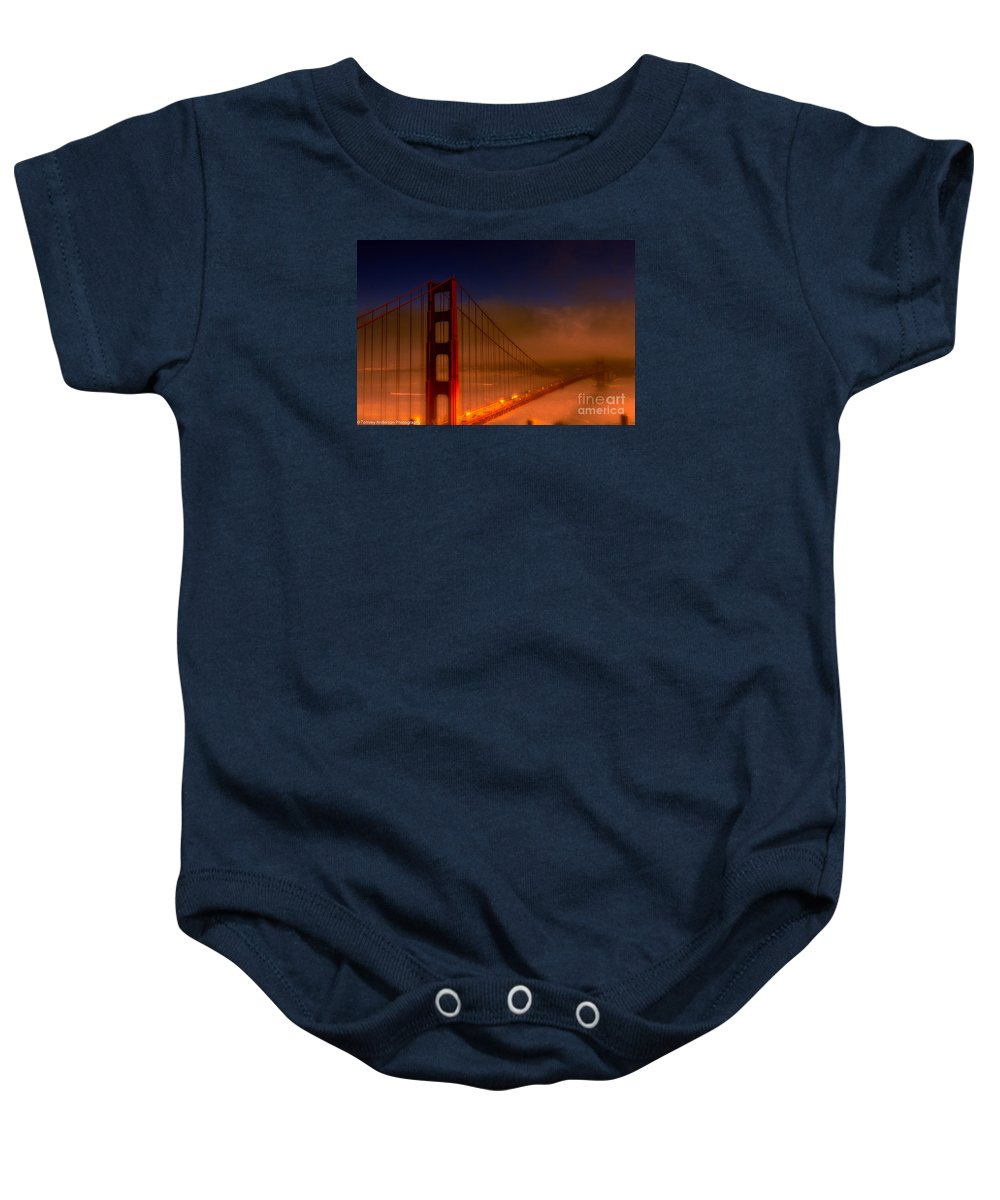 Golden Gate Bridge Baby Onesie featuring the photograph Foggy Golden Gate At Sunset by Tommy Anderson