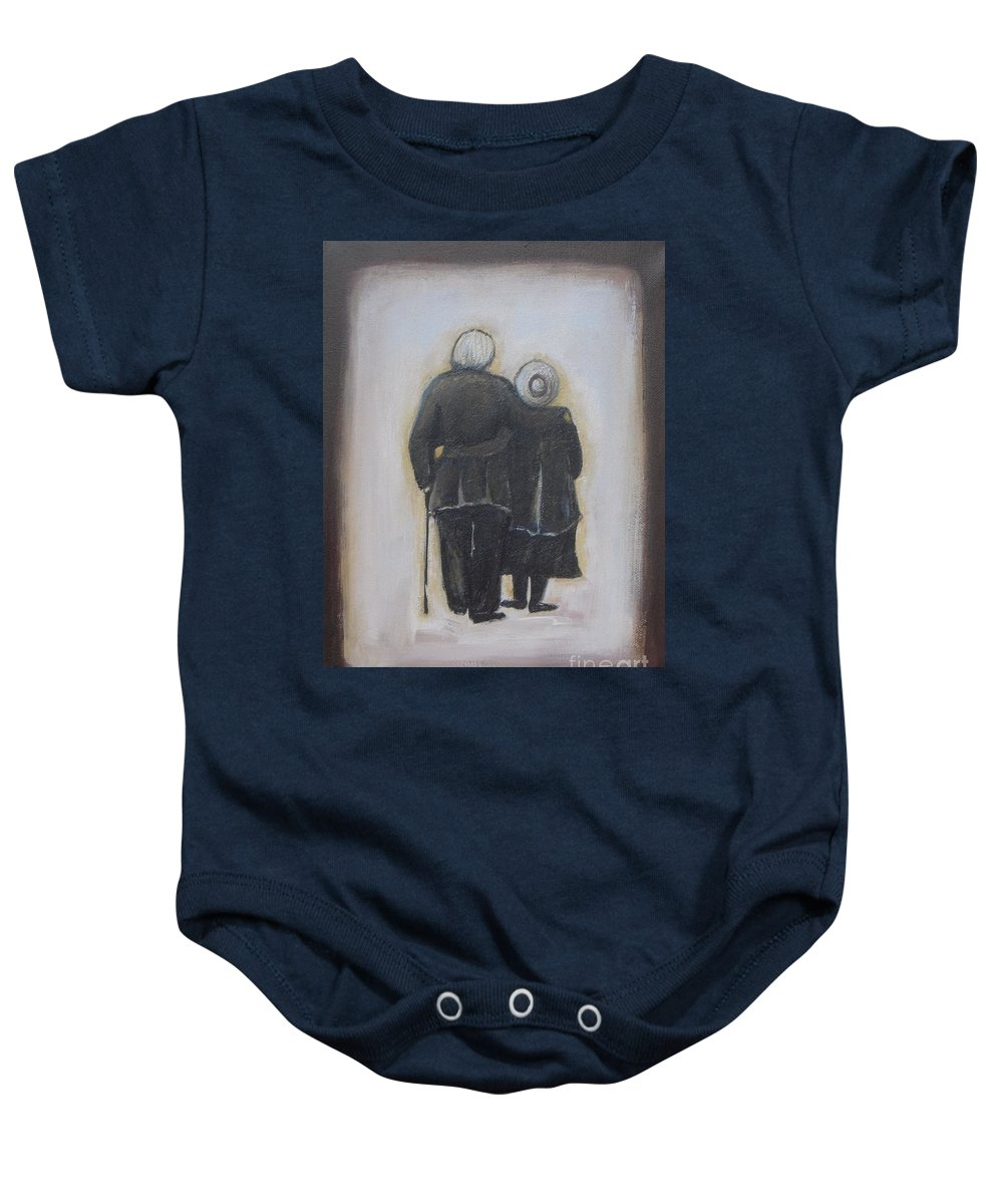 Abstract Baby Onesie featuring the painting Forever In Love by Vesna Antic