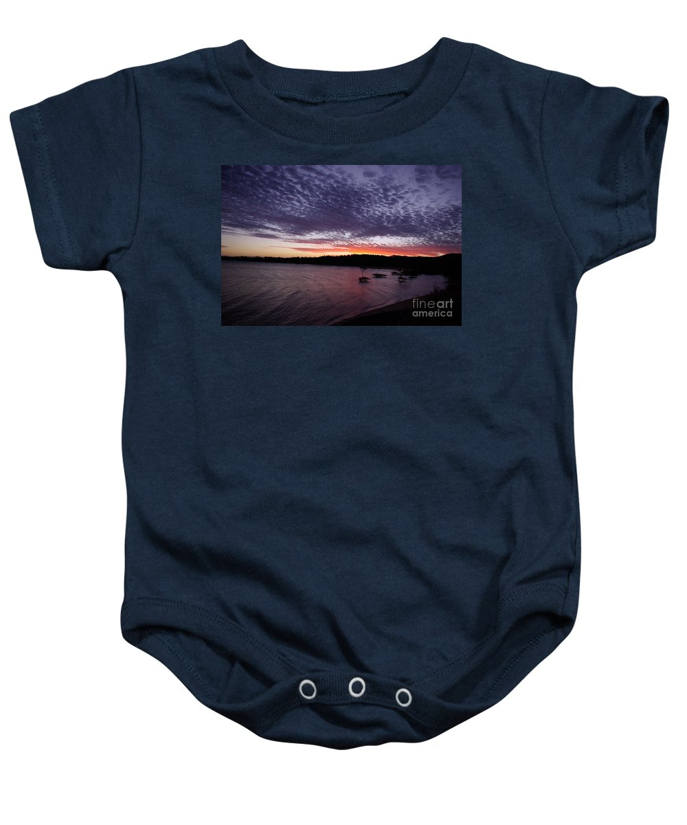 Landscape Baby Onesie featuring the photograph Four Elements Sunset Sequence 7 Coconuts Qld by Kerryn Madsen - Pietsch