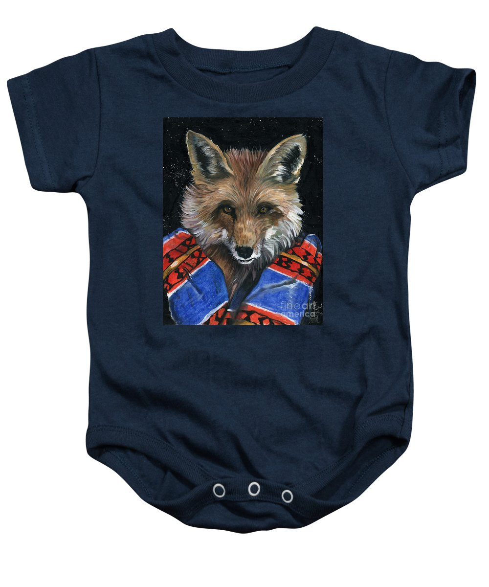 Fox Baby Onesie featuring the painting Fox Medicine by J W Baker