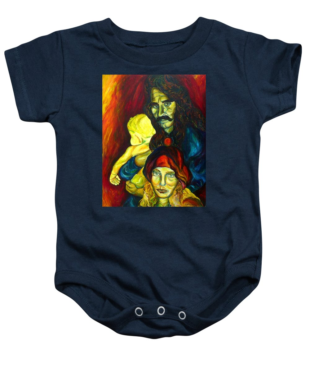 Frank Zappa Baby Onesie featuring the painting Frank Zappa  by Carole Spandau