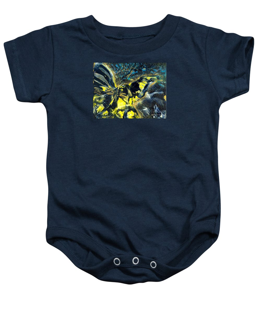 Butterfly Baby Onesie featuring the painting Freedom For Margot by Heather Hennick