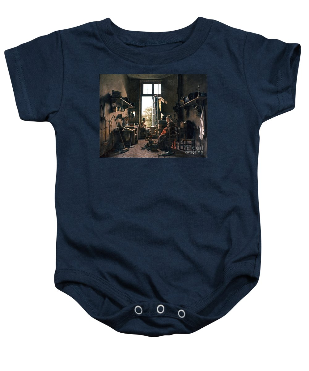 -domestic- Baby Onesie featuring the photograph French Kitchen by Granger