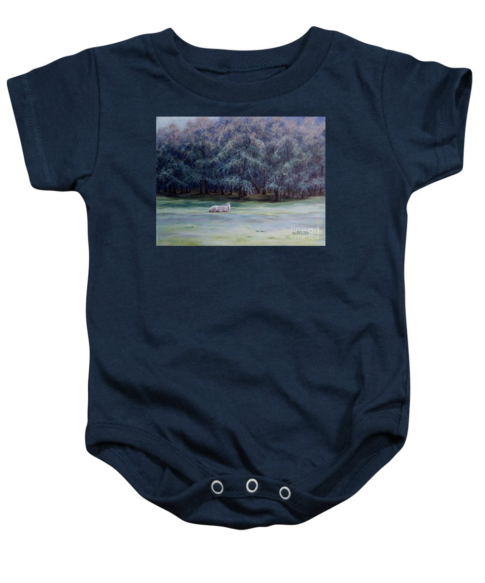 Horse Oil Painting Baby Onesie featuring the painting Frosty Morning by Cynthia Riley