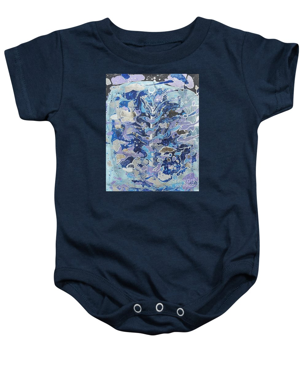 Abstraction. Baby Onesie featuring the mixed media Frozen. by Valentina Prezanti