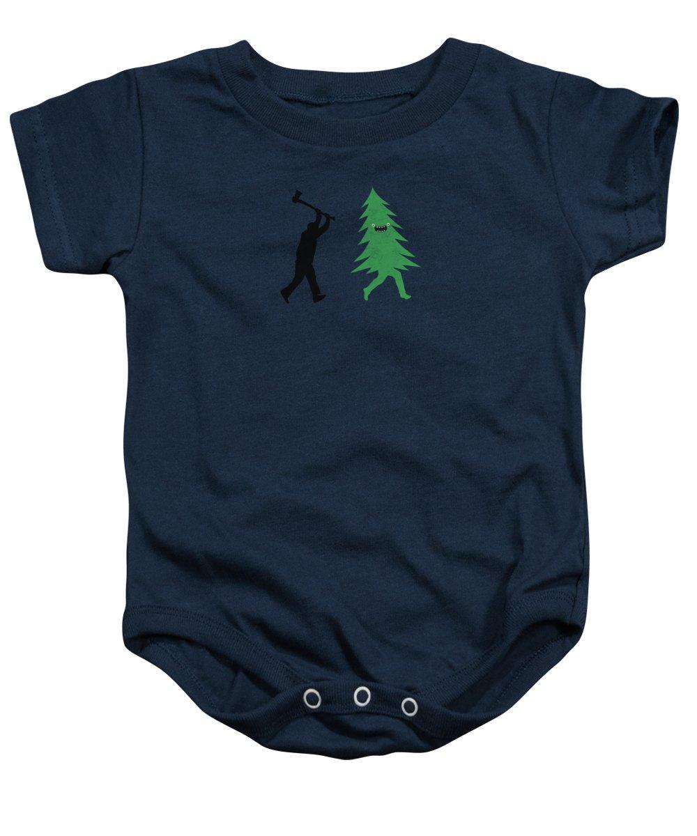 Christmas Tree Onesie.Funny Cartoon Christmas Tree Is Chased By Lumberjack Run Forrest Run Baby Onesie