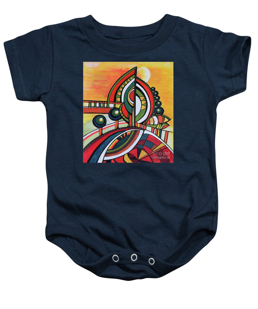 Original Painting Baby Onesie featuring the painting Gaia's Dream by Aniko Hencz
