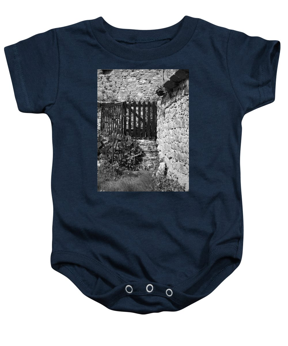 Irish Baby Onesie featuring the photograph Gate At Dunguaire Castle Kinvara Ireland by Teresa Mucha