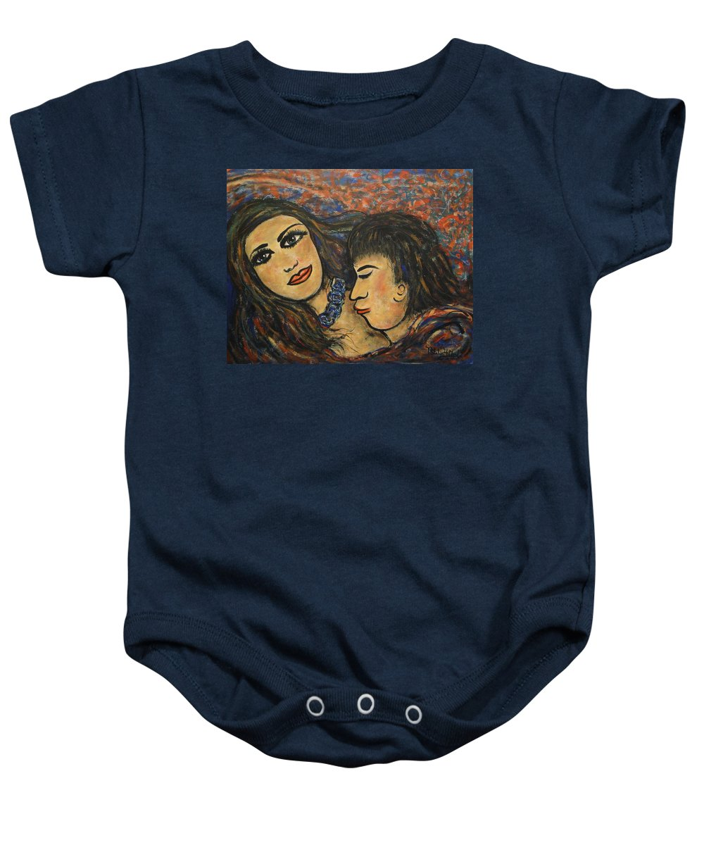 Canvas Prints Baby Onesie featuring the painting Gentle Loving Kiss by Natalie Holland