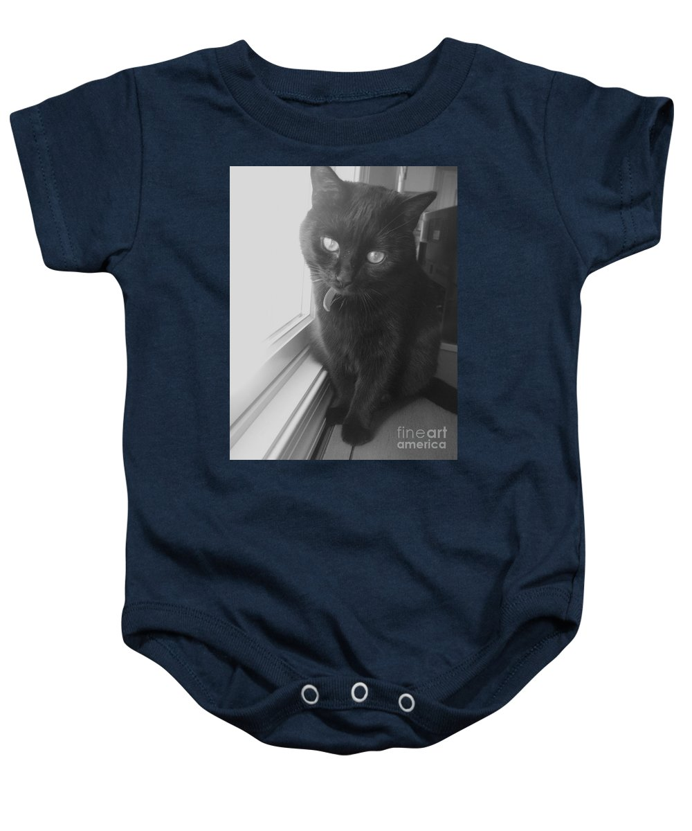 Cat Baby Onesie featuring the photograph Gepetto The Cat by Eric Schiabor