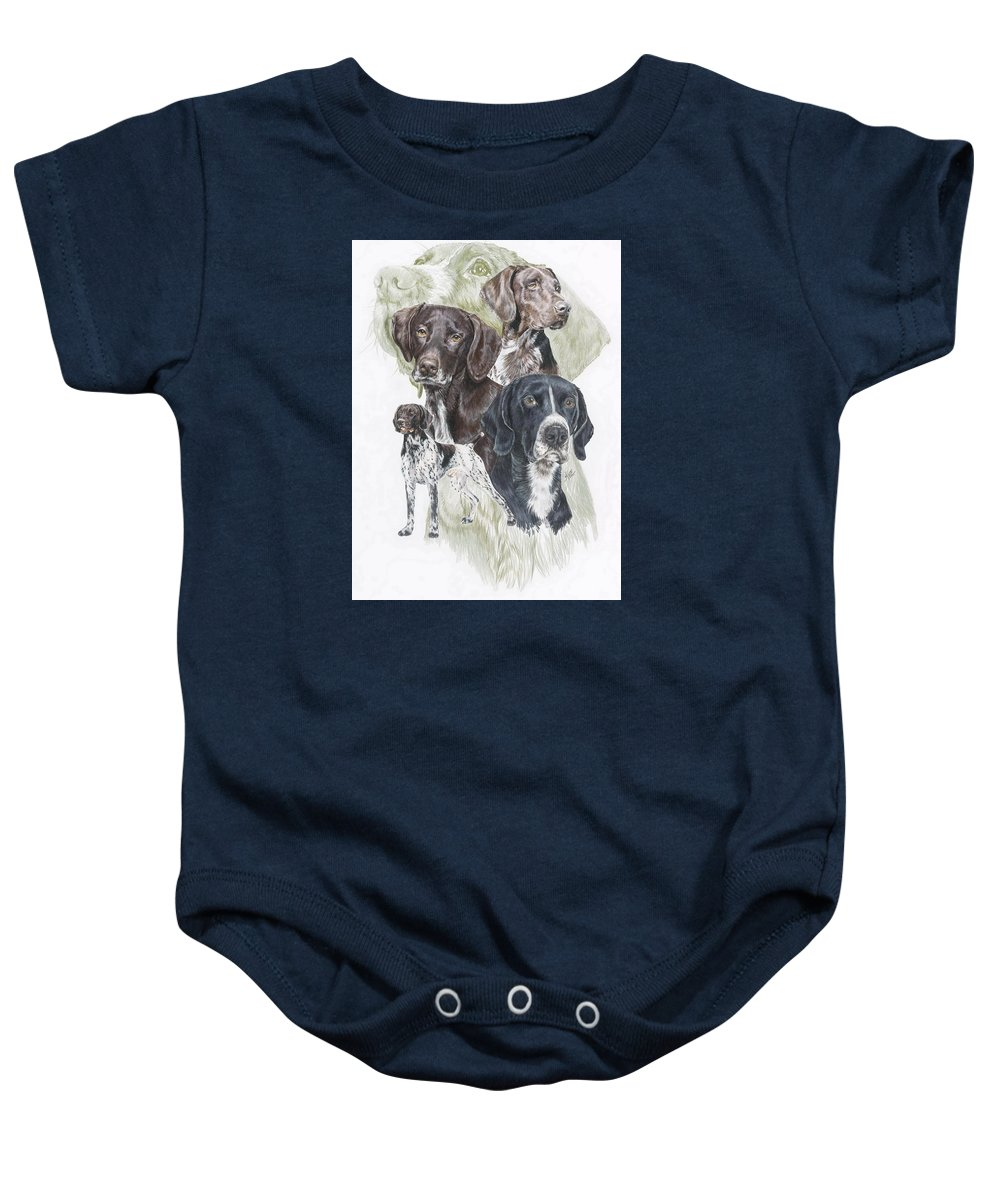 Gshp Baby Onesie featuring the mixed media German Shorted-haired Pointer W/ghost by Barbara Keith