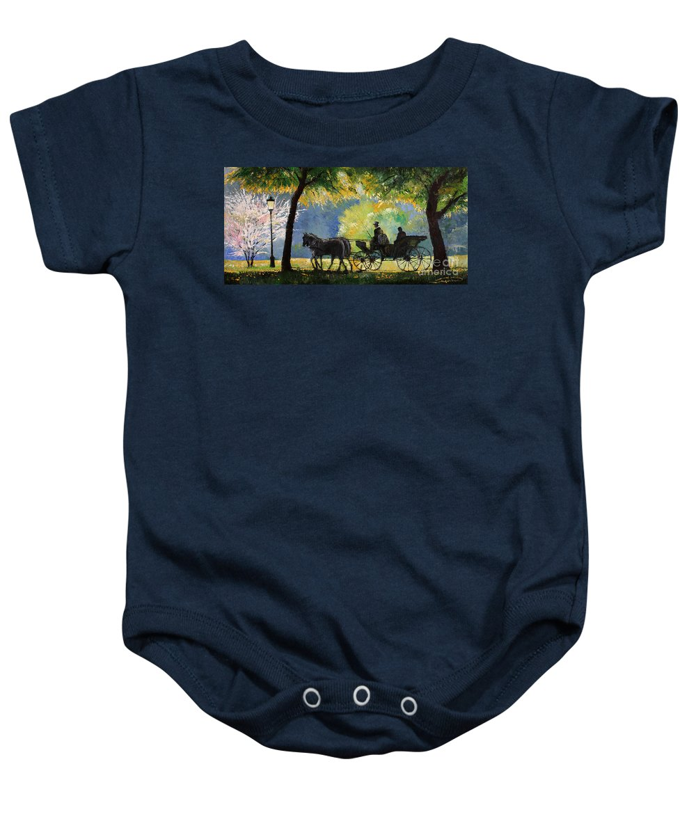 Oil Baby Onesie featuring the painting Germany Baden-baden Lichtentaler Allee Spring by Yuriy Shevchuk