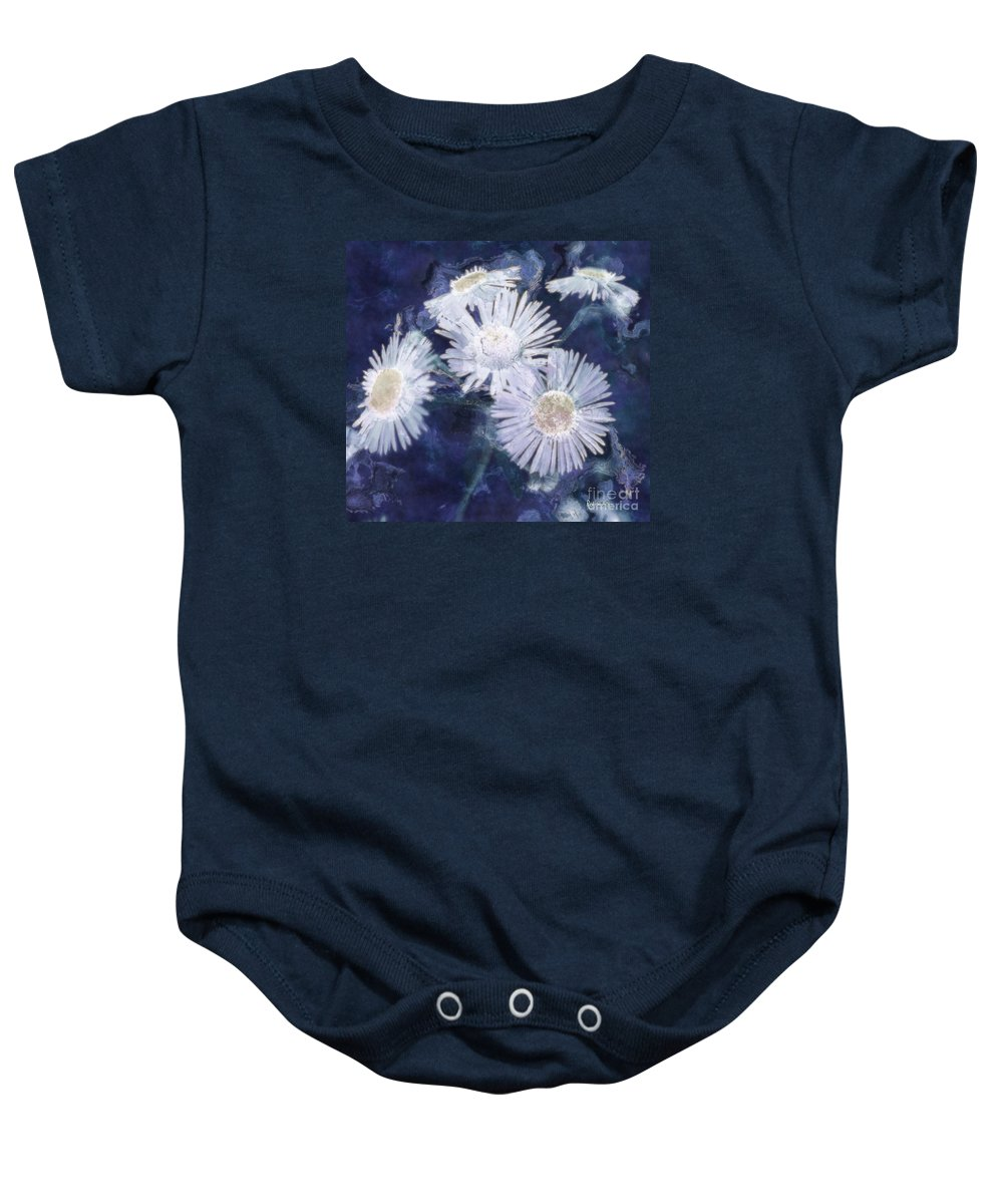 Asters Baby Onesie featuring the painting Ghost Flowers by RC deWinter