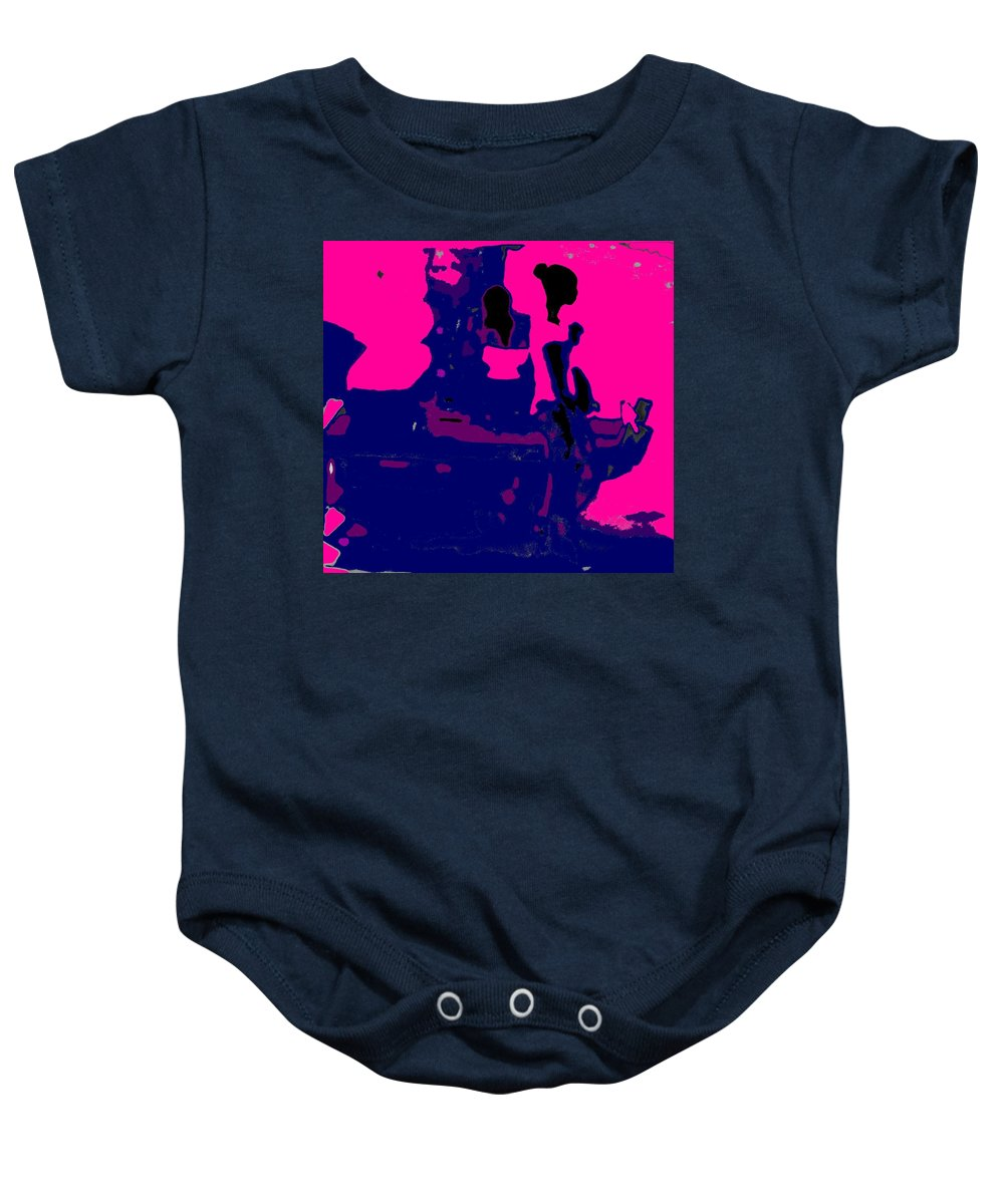 Girl Baby Onesie featuring the photograph Girl Passing Coconut Vendor Reading by Ian MacDonald