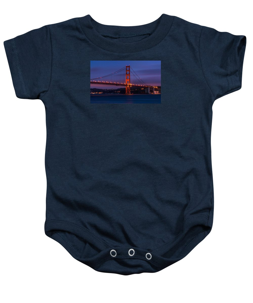Golden Baby Onesie featuring the photograph Golden Gate At Dusk by Ian Aldridge