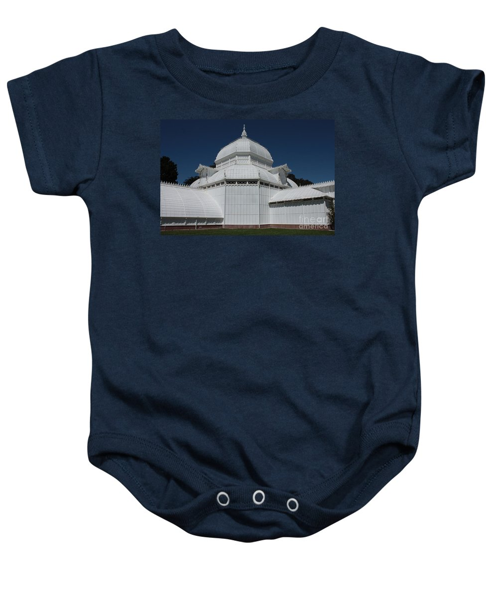 White Baby Onesie featuring the photograph Golden Gate Conservatory by Carol Groenen