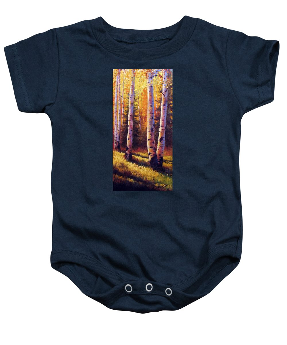 Light Baby Onesie featuring the painting Golden Light by David G Paul