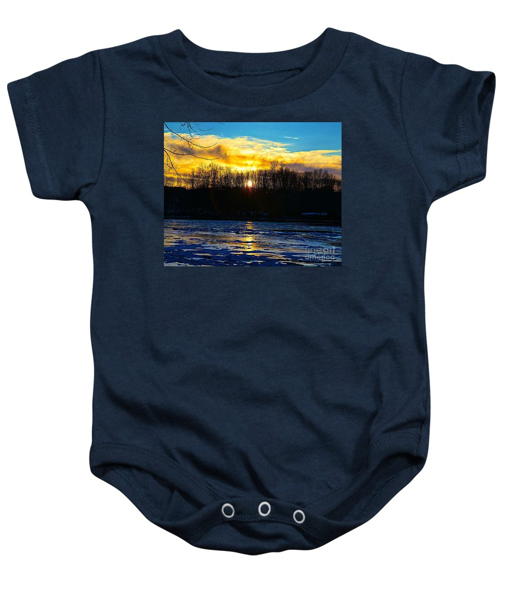 Sun Shine Nature Baby Onesie featuring the photograph Golden Road by Robert Pearson