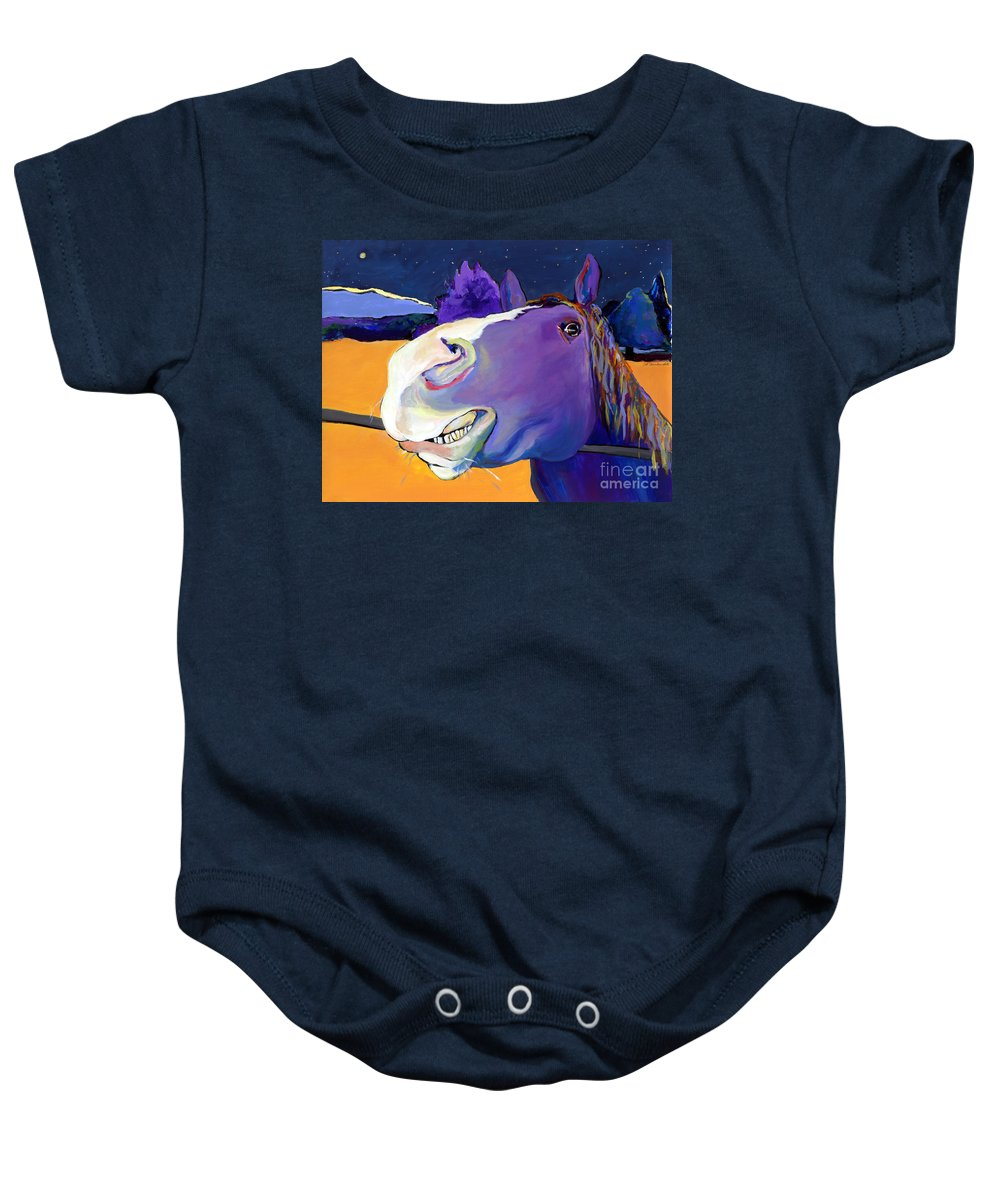 Barnyard Animal Baby Onesie featuring the painting Got Oats   by Pat Saunders-White