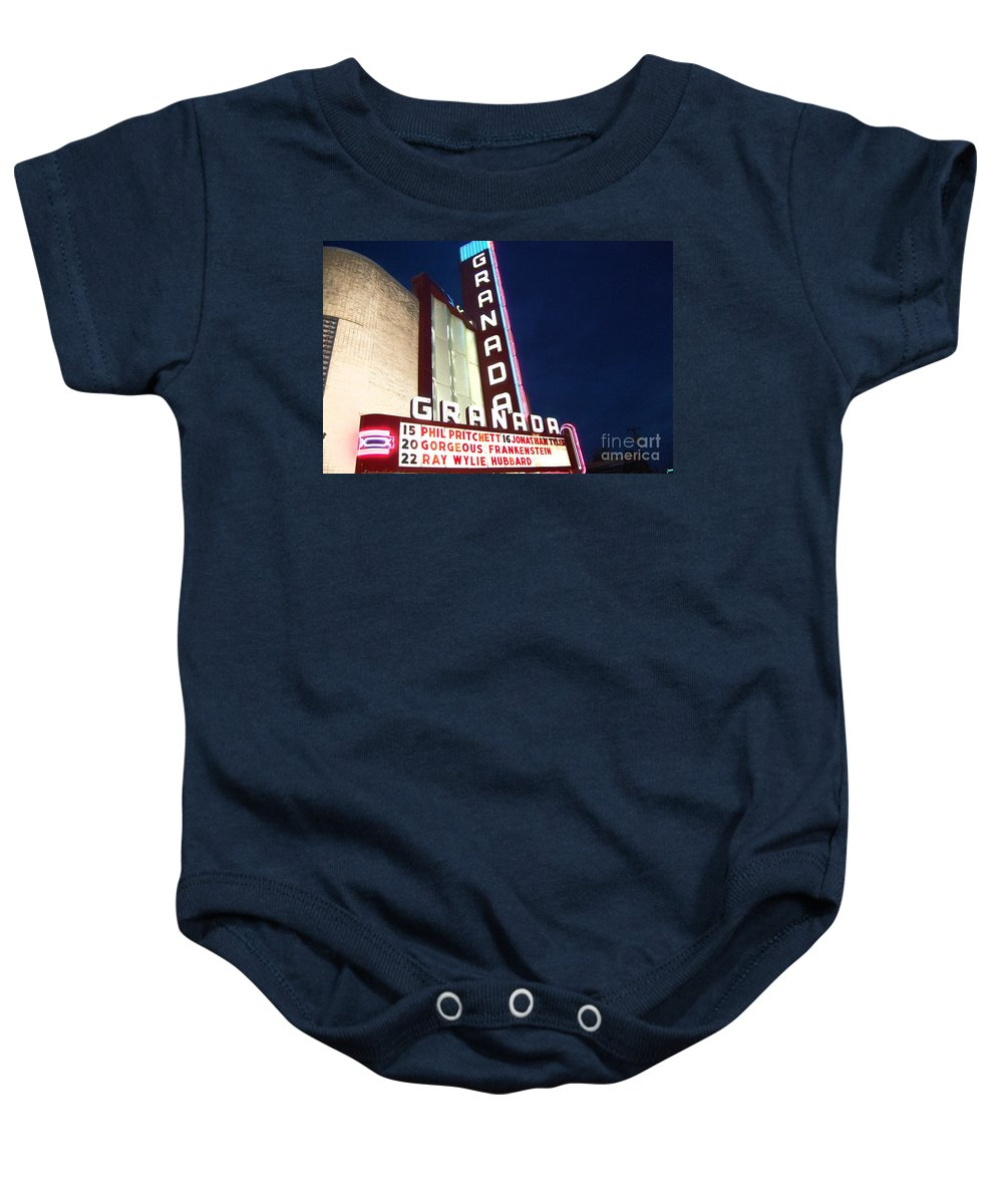 Music Baby Onesie featuring the photograph Granada Theater by Debbi Granruth