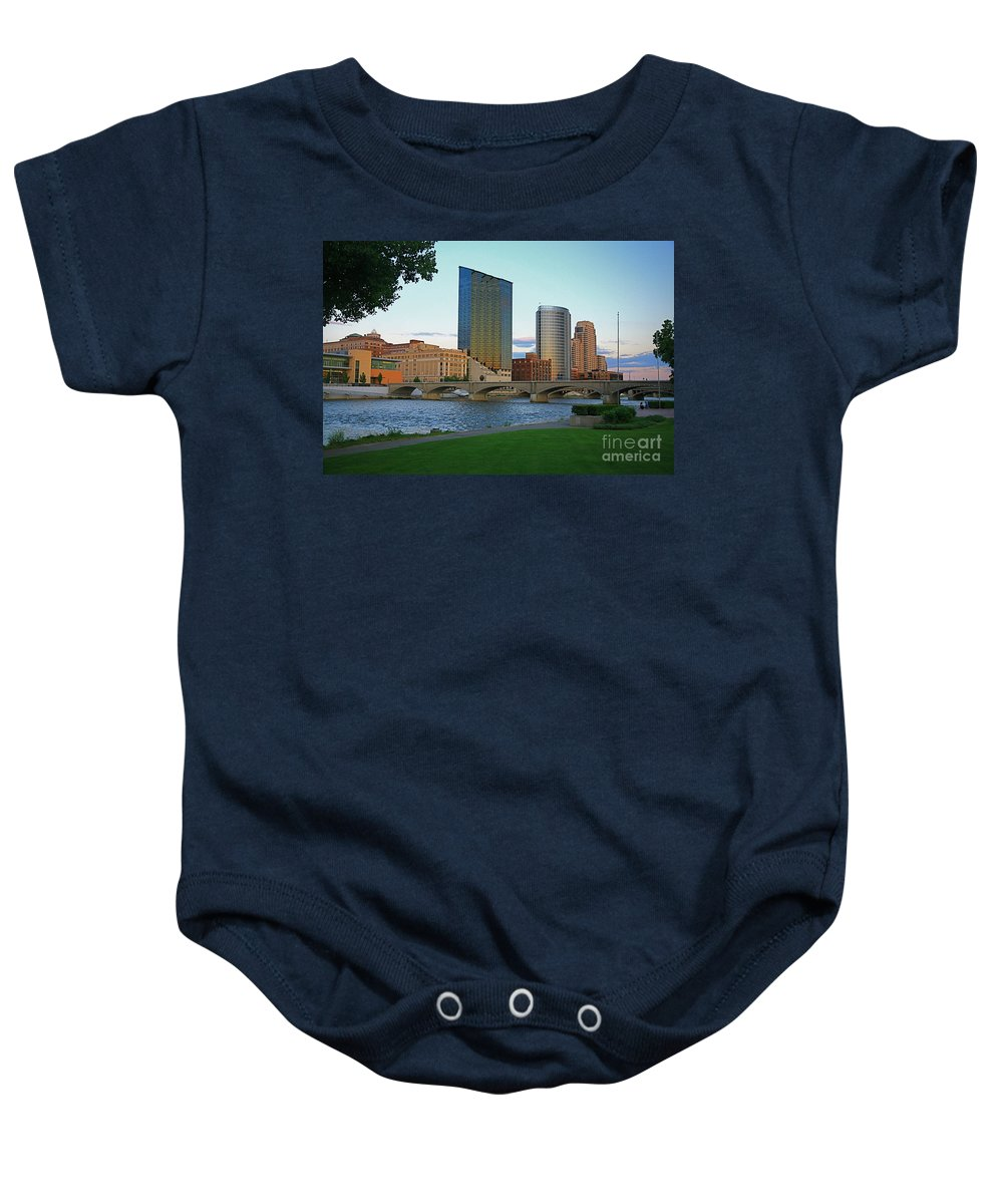 Sky Line Baby Onesie featuring the photograph Grand Rapids Mi-3 by Robert Pearson