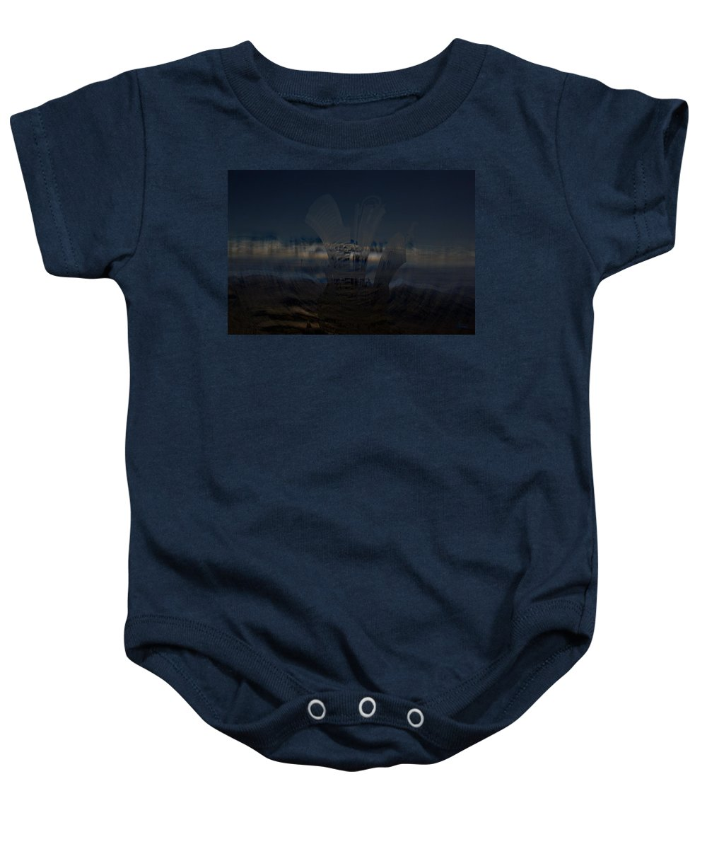 City Skyscape Land Scape Buildings Spinning Weird World Sky Mountains Baby Onesie featuring the photograph Gravitational Pull by Andrea Lawrence