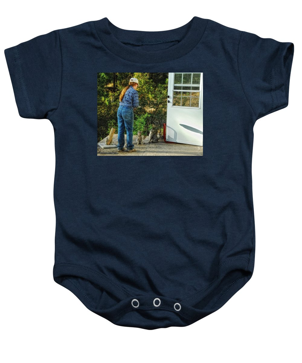 Cats Baby Onesie featuring the photograph Great Expectations by Donna Blackhall