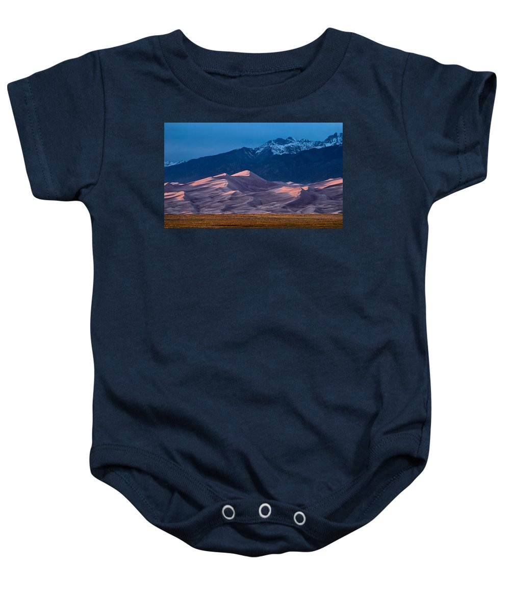 Cloud Baby Onesie featuring the photograph Great Sand Dunes Colorado by Steve Gadomski