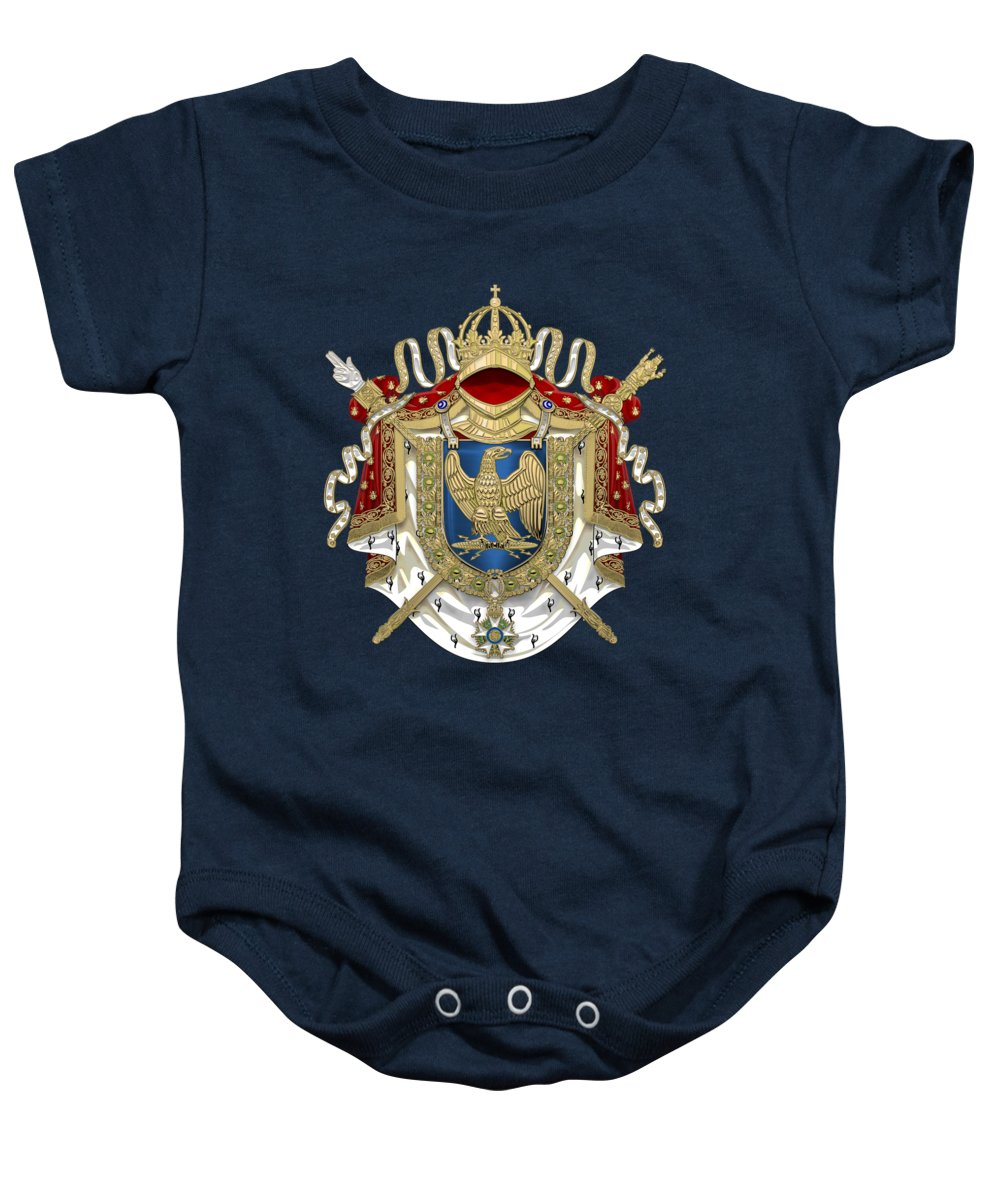 'napoleon Bonaparte' Collection By Serge Averbukh Baby Onesie featuring the digital art Greater Coat Of Arms Of The First French Empire Over Blue Velvet by Serge Averbukh