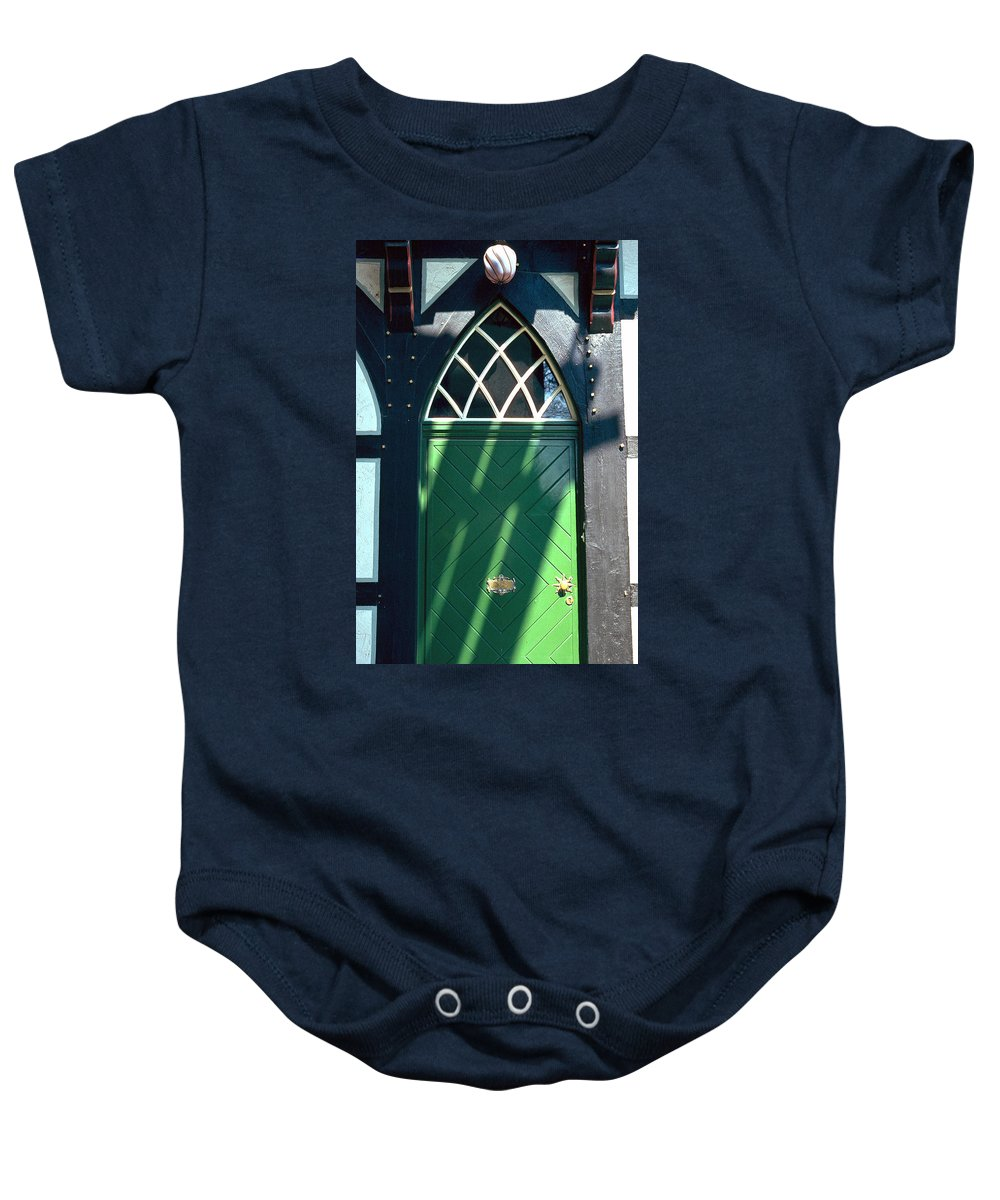 Green Baby Onesie featuring the photograph Green Door by Flavia Westerwelle