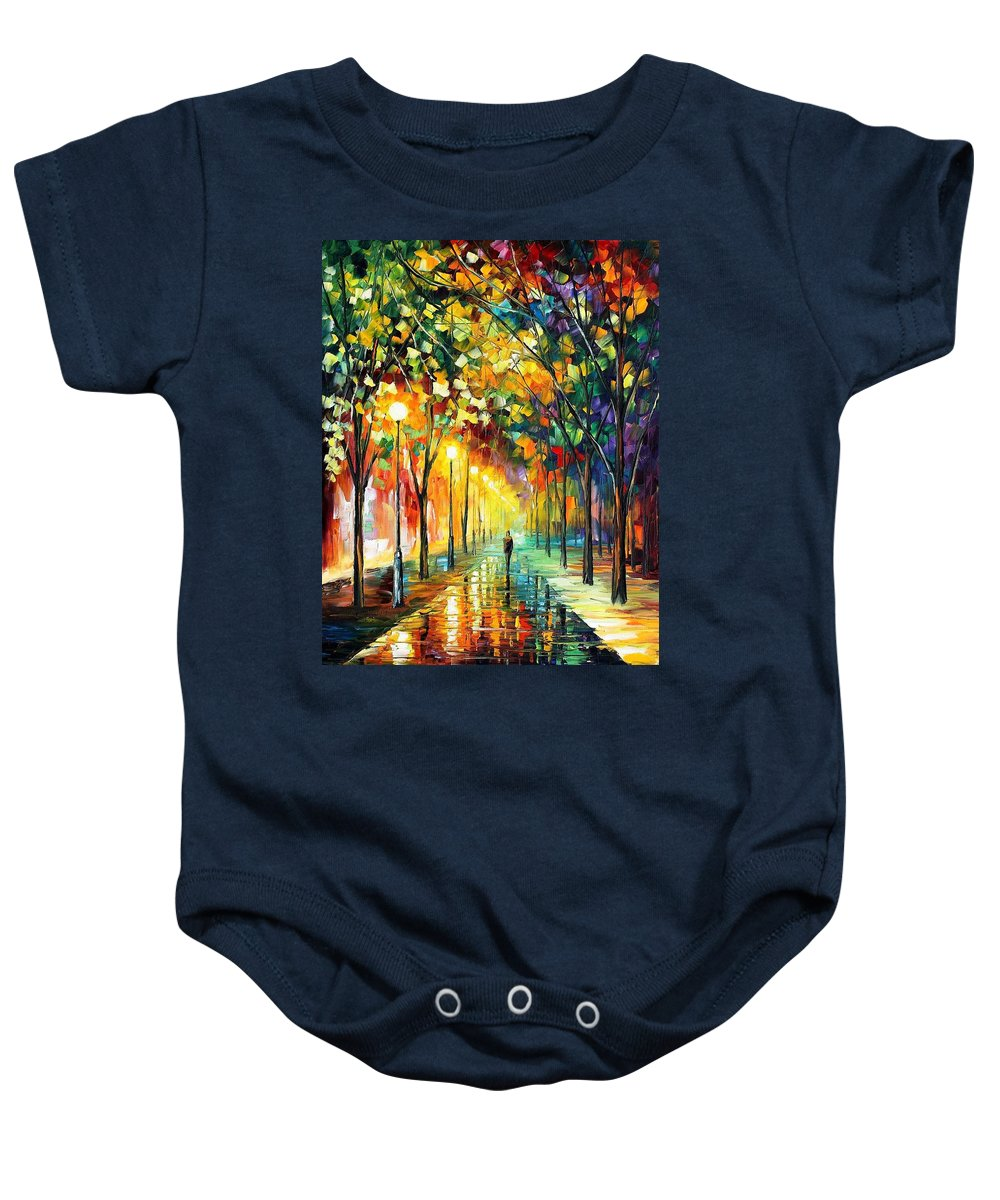Art Gallery Baby Onesie featuring the painting Green Dreams - Palette Knife Oil Painting On Canvas By Leonid Afremov by Leonid Afremov